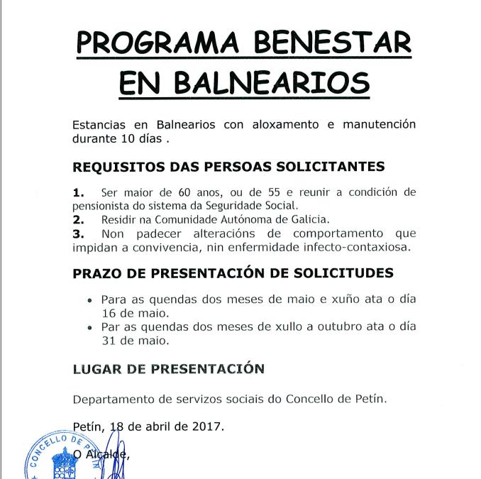 PROGRAMA BIENESTAR BALNEARIOS