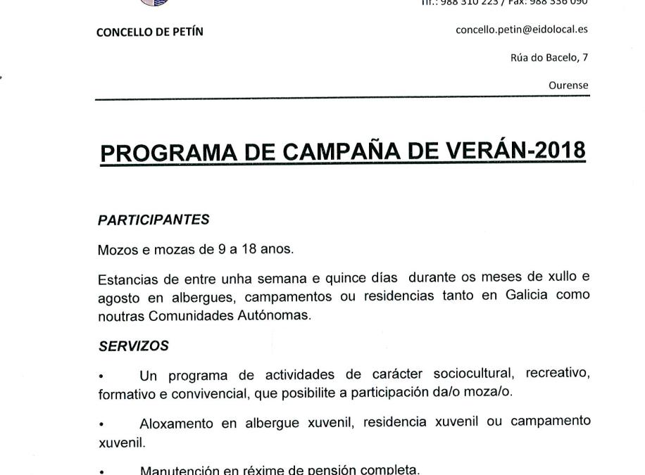 PROGRAMA DE CAMPAÑA DE VERANO 2018