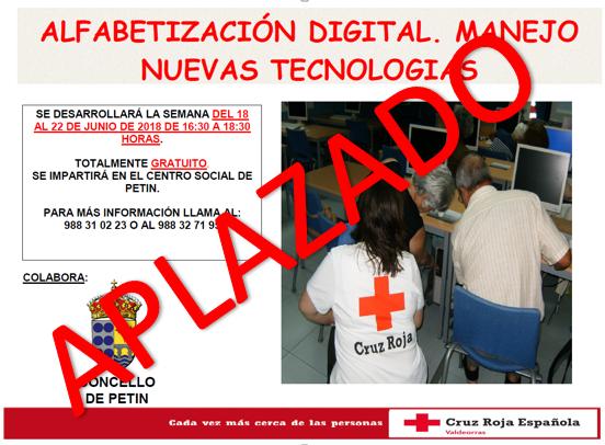 APLAZAMIENTO CURSO ALFABETIZACION DIGITAL. MANEJO NUEVAS TECNOLOGIAS