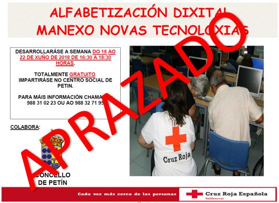 APRAZAMENTO CURSO ALFABETIZACIÓN DIXITAL. MANEXO NOVAS TECNOLOXÍAS