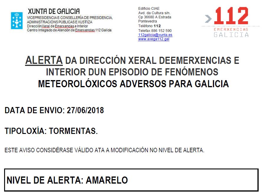 ALERTA AMARELA POR TORMENTAS 27/06/2018
