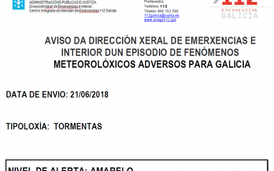 ALERTA AMARELA POR TORMENTAS 21/06/2018