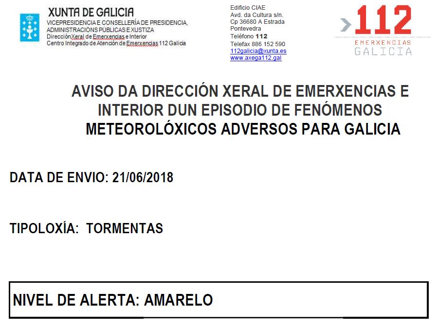 ALERTA AMARILLA POR TORMENTAS 21/06/2018