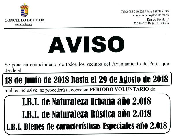 AVISO: COBRO IBI 2018 del 18 de junio hasta el 29 de agosto de 2018