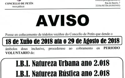 AVISO: COBRAMENTO IBI 2018 do 18 de xuño ata o 29 de agosto de 2018