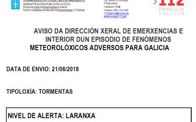 ALERTA LARANXA POR TORMENTAS