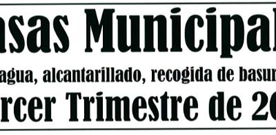 AVISO: TASAS MUNICIPALES TERCER TRIMESTRE DE 2018