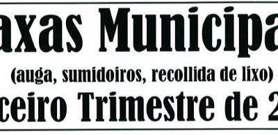 AVISO: TAXAS MUNICIPAIS TERCEIRO TRIMESTRE DE 2018