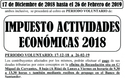 AVISO COBRO IMPUESTO ACTIVIDADES ECONÓMICAS 2018