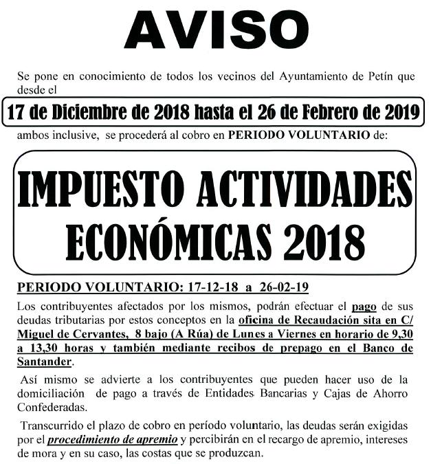AVISO COBRAMENTO IMPOSTO ACTIVIDADES ECONÓMICAS 2018