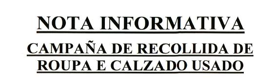 CAMPAÑA DE RECOGIDA DE ROPA Y CALZADO USADO